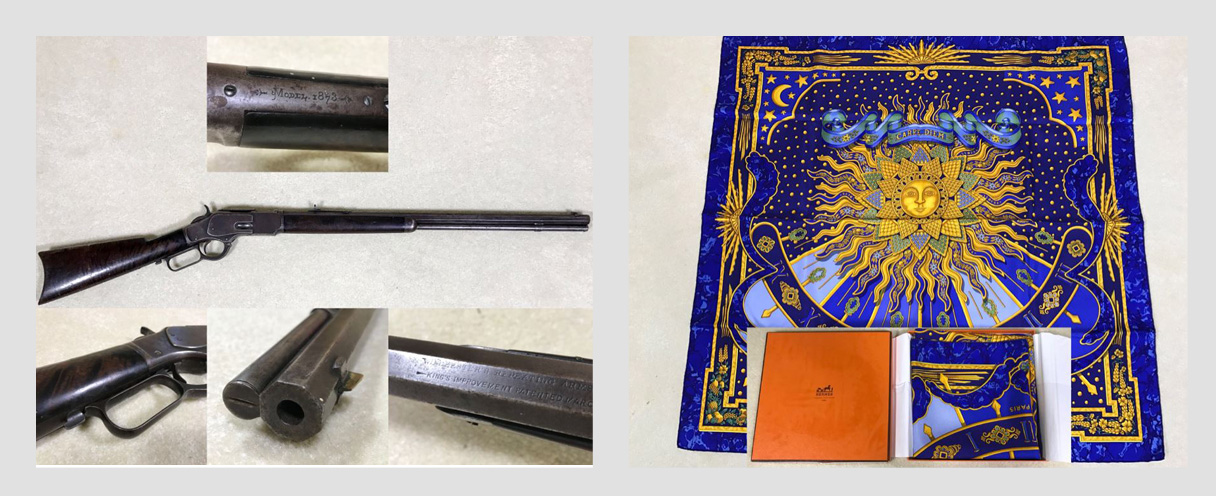 Quick Solana Beach Online Estate Sale Closing 6/21: Featuring An Antique Winchester Repeating Arms Model 1873 Lever Action Rifle And Hermès Silk Scarves